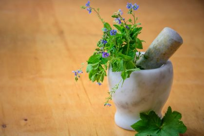 Herbs from the meadow in a marble mortar